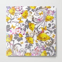 MUSICAL BUTTERFLIES FESTIVAL & YELLOW ROSE SCROLLS Metal Print