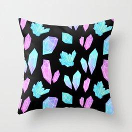Pastel Watercolor Crystals // Black Throw Pillow