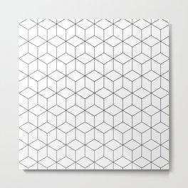 3D Cubes Line Pattern Metal Print