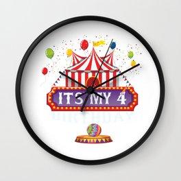 It's My 4th Birthday Ringmaster Kids Circus Party B-day print Wall Clock