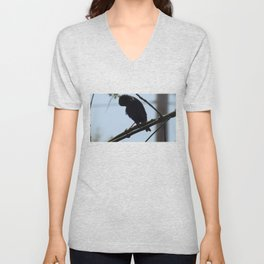 Crow in Tree - Lowered Head Unisex V-Neck