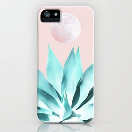 Stellar Agave and Full Moon - pastel aqua and pink iPhone Case