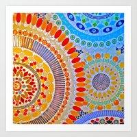 mosaic tile artwork blue orange red green Art Print