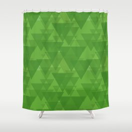 Gentle green triangles in intersection and overlay. Shower Curtain