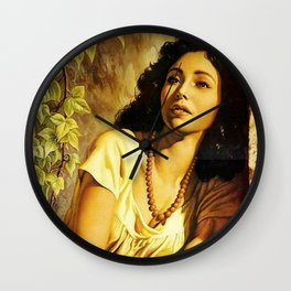 Mexican Calendar Girl at Window by Jesus Helguera Wall Clock