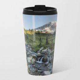 Early Morning Light on Mt Rainier above Edith Creek Metal Travel Mug