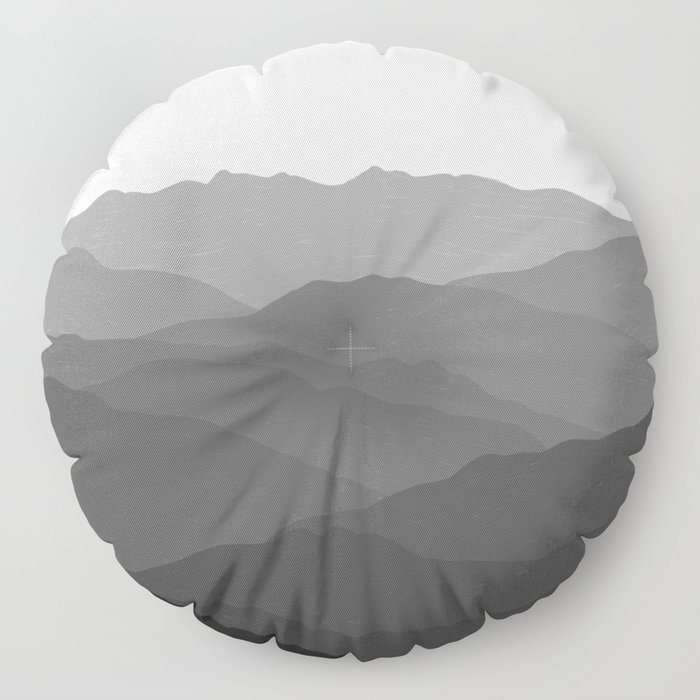 Shades of Grey Mountains Floor Pillow