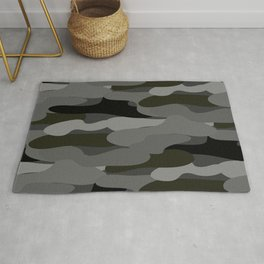 Camo-licious Collection: Classic Gray & Black Camouflage Pattern Rug
