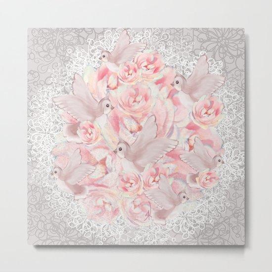Rose Birds Metal Print