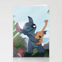 lilo and stitch Stationery Cards featuring Stitch (Lilo & Stitch) by Bana Sakhnini