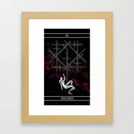A Tarot of Ink 09 of Swords Framed Art Print