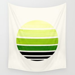 Sap Green Minimalist Mid Century Modern Watercolor Stripes Sunset Circle Abstract Pattern Wall Tapestry
