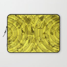 psychedelic geometric circle pattern abstract background in yellow Laptop Sleeve