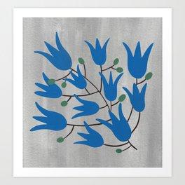 Blue Bell Flowers on Silver Background – Blue Bell – Scandinavian Folk Art Art Print