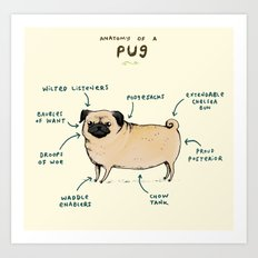Anatomy of a Pug Art Print