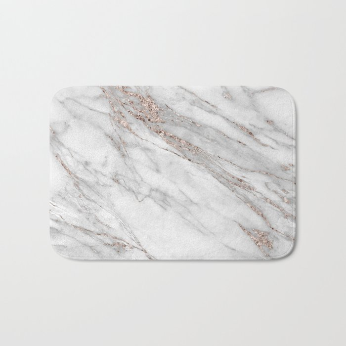 Pink Rose Gold Blush Metallic Glitter Foil On Gray Marble Bath Mat By Originalaufnahme