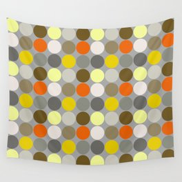Mid-Century Giant Dots, Gray, Gold and Orange Wall Tapestry