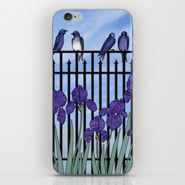 purple martins & purple irises iPhone Skin