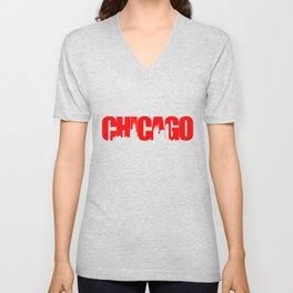 Chicago (Illinois) Skyline - Red Unisex V-Neck