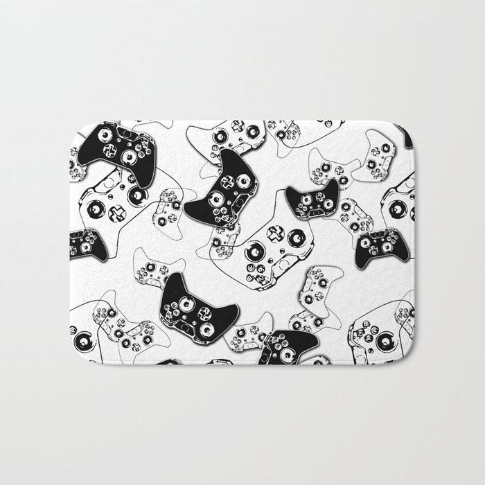 Video Game Black on White Bath Mat