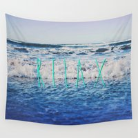 relax Wall Tapestries featuring Relax by Leah Flores