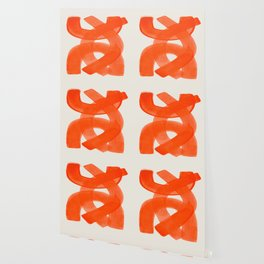 Mid Century Modern Abstract Painting Orange Watercolor Brush Strokes Wallpaper