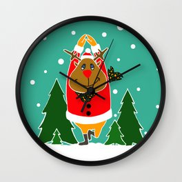 Christmas Deer Practicing Yoga Wall Clock