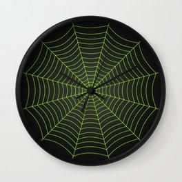 Neon green spider web Wall Clock