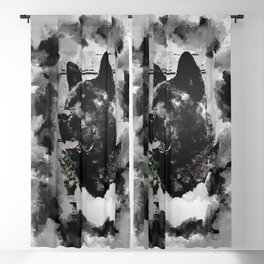 Akita Black Love Ink Portrait Blackout Curtain