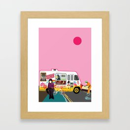 Ice Cream and Synth Framed Art Print