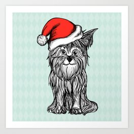 Christmas Dog In Santa Clause Hat Art Print