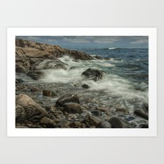 Waves Crashing against the Shore in Acadia National Park Maine Art Print