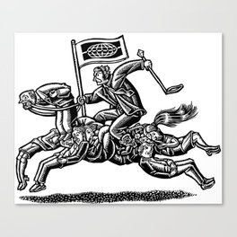 Boss Rides Horse Made of Employees Canvas Print