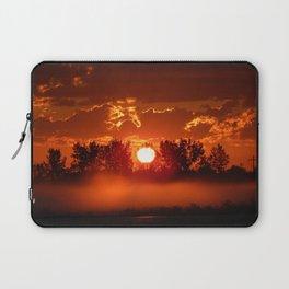 Flaming Horses over the Foggy Sunrise Laptop Sleeve