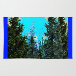 WESTERN PINE TREES LANDSCAPE IN BLUE Rug