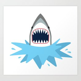 Cartoon Shark Splash Art Print