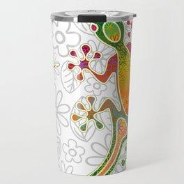 Gecko Floral Tribal Art Travel Mug