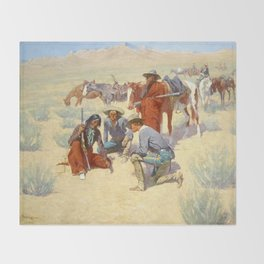 """Western Art """"A Map in the Sand"""" by Frederic Remington Throw Blanket"""