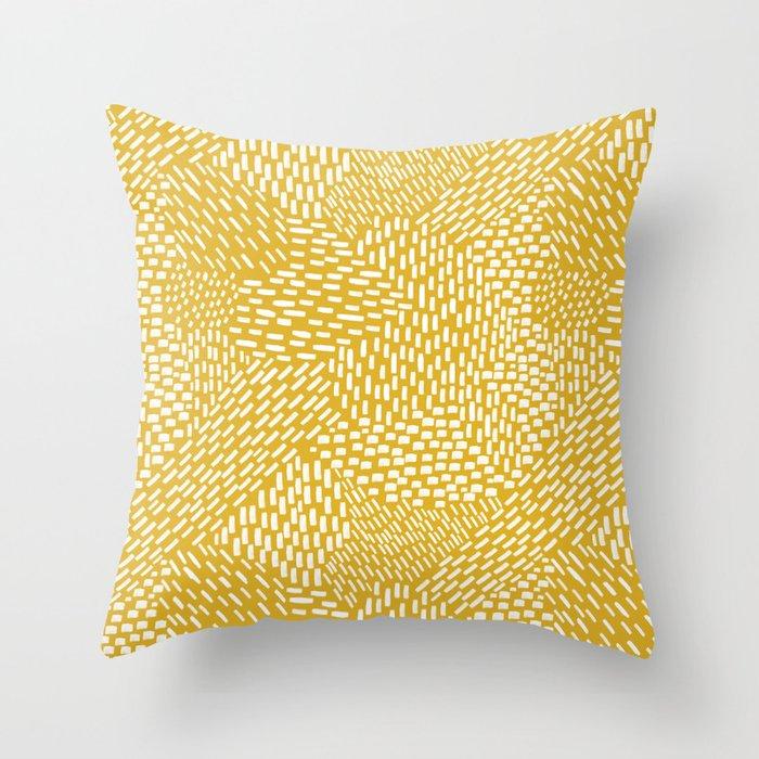 Abstract Brush Strokes, Mustard Yellow Throw Pillow