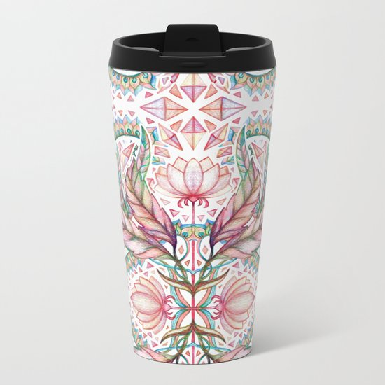 Lily, Leaf & Triangle Pattern – multi-color version Metal Travel Mug