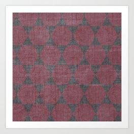 Sekskanter - red Art Print