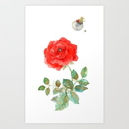 Le Petit Prince Little Prince with Fox & Rose vertical Art Print