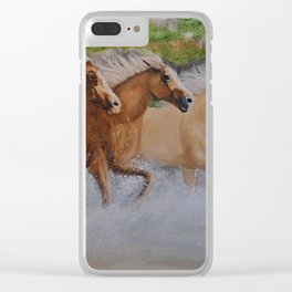 Angel Horses Clear iPhone Case