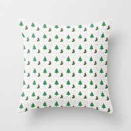Christmas Tree And Stockings Pattern On White Throw Pillow