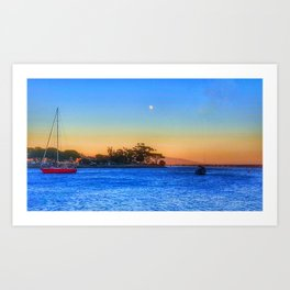 Red Sailboat under the full moon Art Print