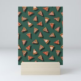 Pizza Party Pattern - Floating Pizza Slices on Teal Mini Art Print