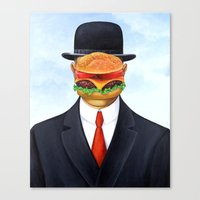 magritte Canvas Prints featuring Magritte Burger by Scott Partridge