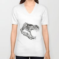 t rex V-neck T-shirts featuring T Rex by Cherry Virginia