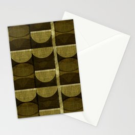 """""""Retro Olive green Chained Circles"""" Stationery Cards"""