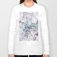 pittsburgh Long Sleeve T-shirts featuring Pittsburgh map by MapMapMaps.Watercolors
